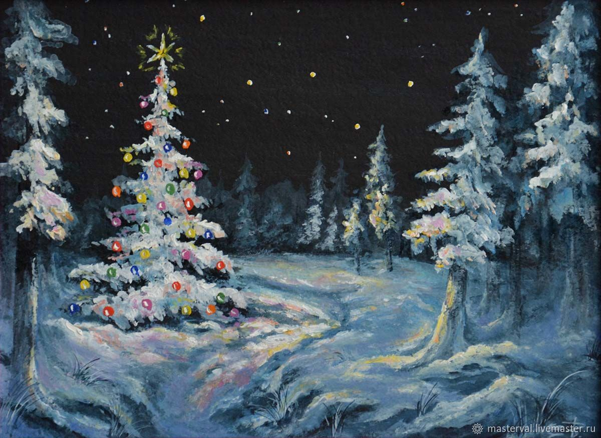 Picture miniature Christmas tree, New year, Midnight, 20h15, oil, Pictures, Voronezh,  Фото №1