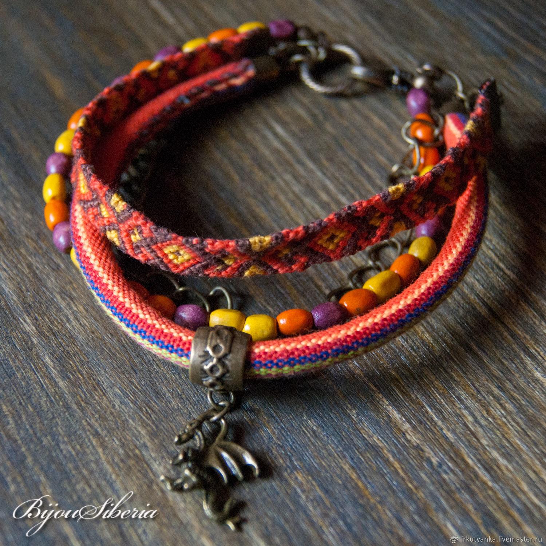 Multi-row bracelet with wood and textiles, Bead bracelet, Irkutsk,  Фото №1