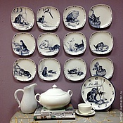 Посуда handmade. Livemaster - original item Painted porcelain Collection plates Kittens 12 pieces. Handmade.