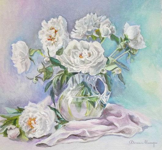 """Картины цветов ручной работы. Ярмарка Мастеров - ручная работа. Купить натюрморт """"Зефирно-мятная нежность белых пионов"""". Handmade."""
