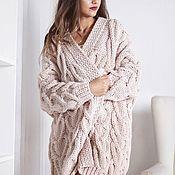 Одежда handmade. Livemaster - original item Voluminous women`s knitted cardigan large knit in the color latte. Handmade.