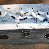 Для дома и интерьера ручной работы. Ярмарка Мастеров - ручная работа Купюрница Журавлиный танец. Handmade.