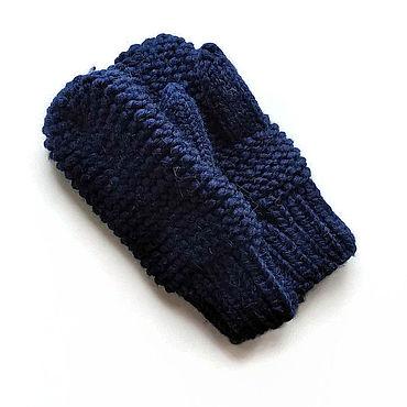 Аксессуары ручной работы. Ярмарка Мастеров - ручная работа Варежки вязаные из шерсти зимние женские теплые синие. Handmade.
