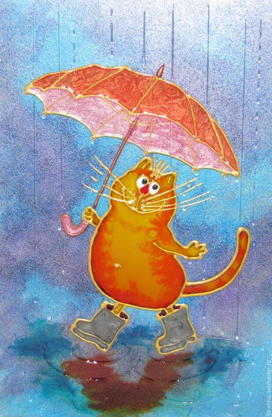 Животные ручной работы. Ярмарка Мастеров - ручная работа. Купить Солнечный кот с зонтом цвета апельсина. Синие коты Рины Зенюк.. Handmade.