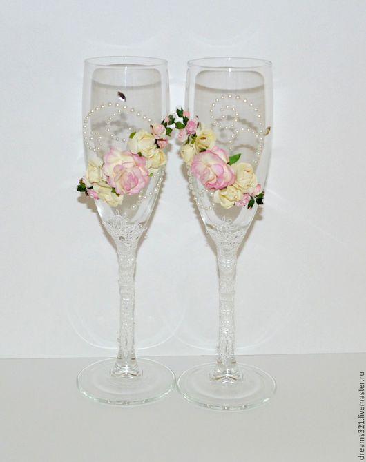 """Свадебные аксессуары ручной работы. Ярмарка Мастеров - ручная работа. Купить Свадебные бокалы""""FLEUR"""". Handmade. Бледно-розовый, белый, бокал"""