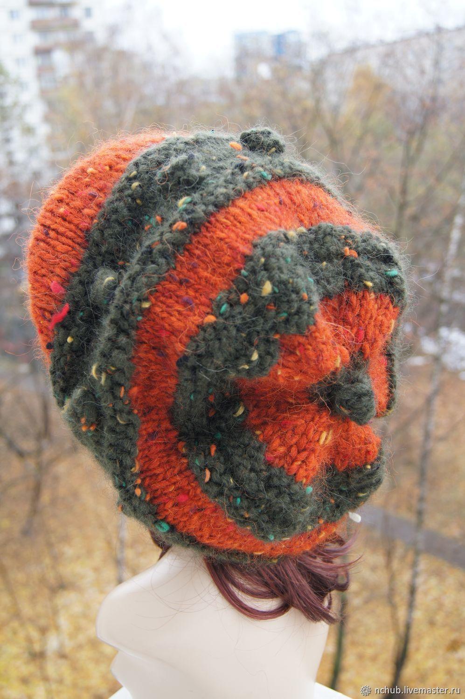 aba012223b076 Little pleasures · Berets handmade. Takes boho knitted Orange bulk of  Icelandic wool 100.