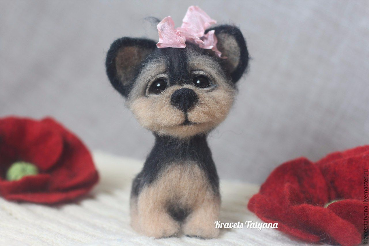 Copyright felted toy dog Yorkshire Terrier Button, Felted Toy, Kuragino,  Фото №1