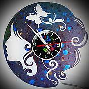 "Для дома и интерьера handmade. Livemaster - original item Wall Clock ""Girl with butterfly"". Handmade."