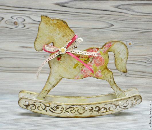 Игрушки животные, ручной работы. Ярмарка Мастеров - ручная работа. Купить Декоративная лошадка-качалка. Handmade. Бежевый, Декупаж