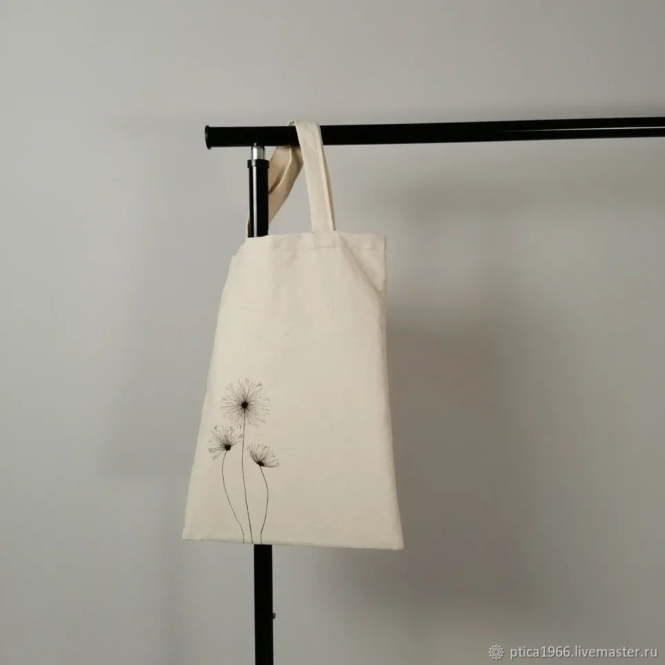 Shopping bag double-sided Dandelions, cotton, natural mascara, Shopper, Kolomna,  Фото №1