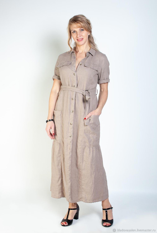 ac6cea6034af5d0 Платья ручной работы. Ярмарка Мастеров - ручная работа. Купить Платье  Сафари вываренный лен.