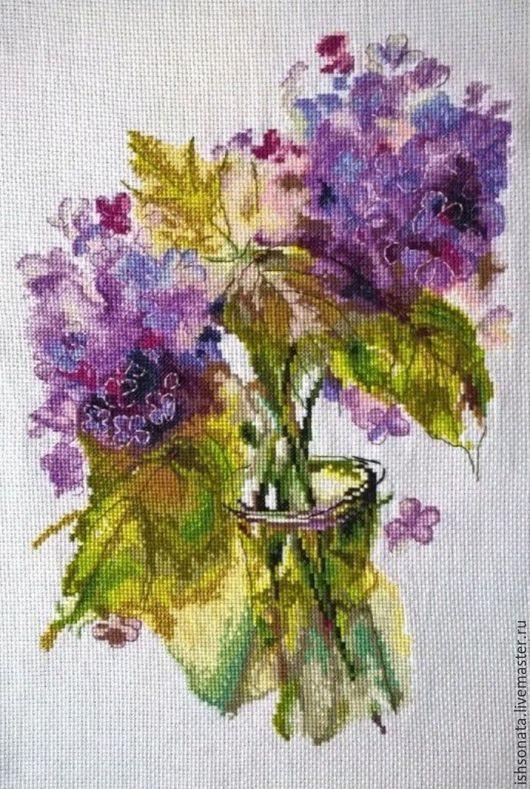 Картины цветов ручной работы. Ярмарка Мастеров - ручная работа. Купить Соцветия гартензии. Handmade. Вышивка, Вышивка крестом