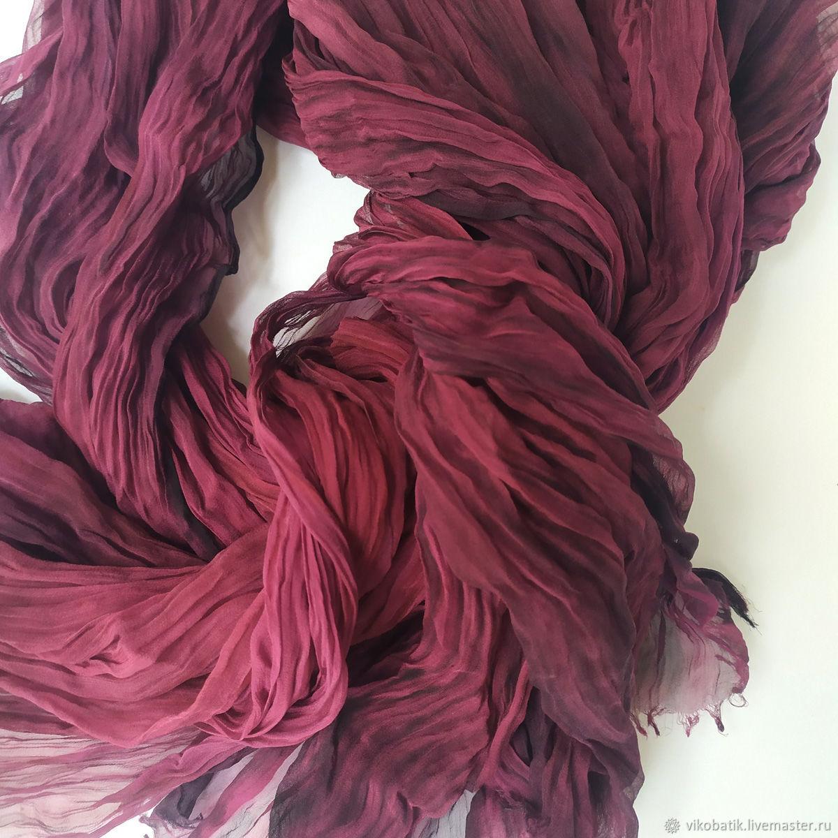Silk Scarf Stole Bordeaux Wine Marsala Silk 100%, Scarves, Kislovodsk,  Фото №1