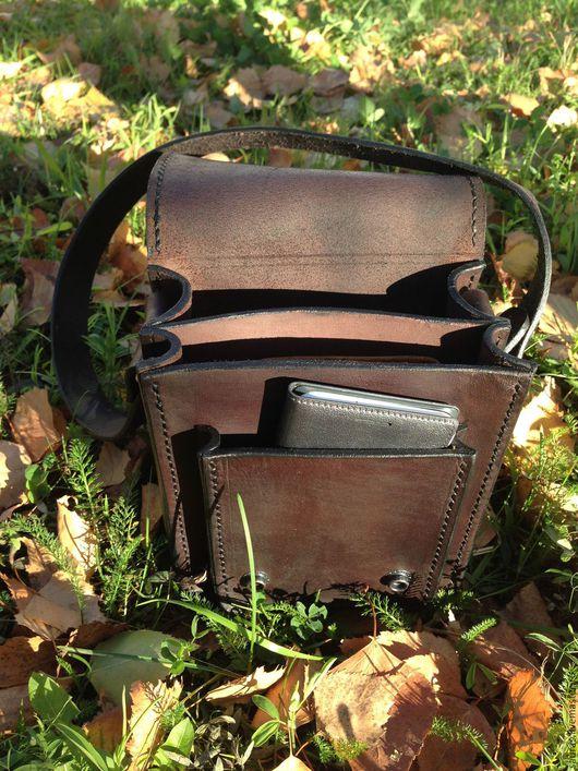 Мужские сумки ручной работы. Ярмарка Мастеров - ручная работа. Купить Мужская сумка под документы. Натуральная кожа. 100% ручная работа. Handmade.