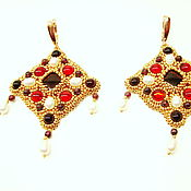 Украшения handmade. Livemaster - original item Gold Byzantine earrings with beads and cabochons Empress Theodora. Handmade.