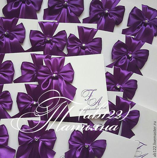 Свадебные аксессуары ручной работы. Ярмарка Мастеров - ручная работа. Купить Приглашения с широким бантом фиолетовые. Handmade. Фиолетовый