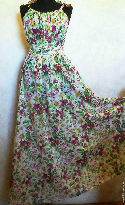 сарафан летний, сарафан длинный, летний сарафан, цветочный рисунок, ткань с розами, свободный крой, свободный силуэт, большой размер.