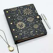 Канцелярские товары handmade. Livemaster - original item A notebook with a wooden cover and a leather spine. Handmade.