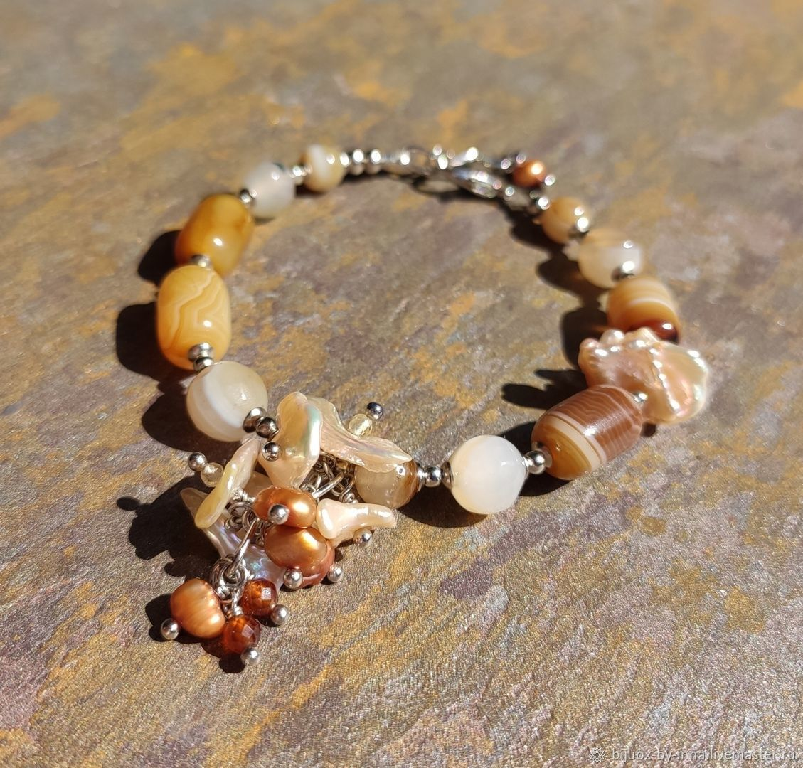 Bracelet with agate and Kesha pearls. Bracelet with natural stones, Bead bracelet, Permian,  Фото №1