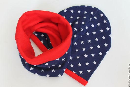 Шапки и шарфы ручной работы. Ярмарка Мастеров - ручная работа. Купить шапка звездочка, шапка детская, снуд красный, шапка синяя. Handmade.
