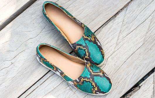 Обувь ручной работы. Ярмарка Мастеров - ручная работа. Купить Эспадрильи из натуральной кожи питона. Туфли из кожи питона. Handmade.