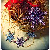 """Подарки к праздникам ручной работы. Ярмарка Мастеров - ручная работа Новогодняя гирлянда-подвеска вертикальная """"Снегопад на Рождество"""". Handmade."""