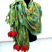 """Аксессуары ручной работы. Ярмарка Мастеров - ручная работа Валяный шарф """"Красные тюльпаны """". Handmade."""