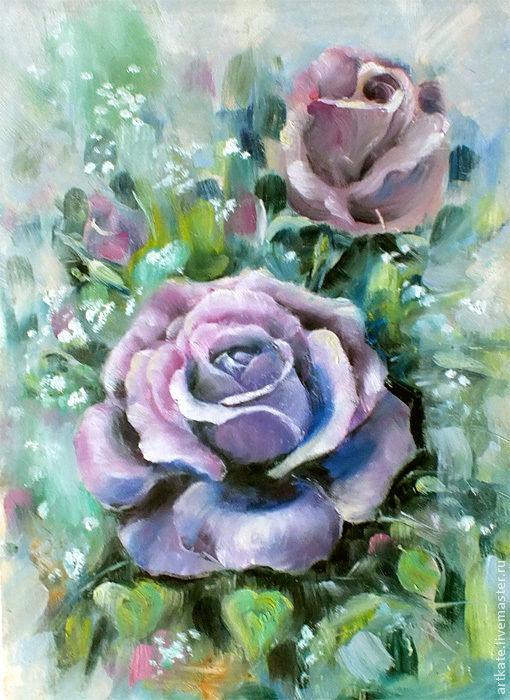 """Картины цветов ручной работы. Ярмарка Мастеров - ручная работа. Купить Картина маслом """"Розы"""". Handmade. Сиреневый, розы"""