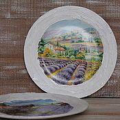 """Посуда ручной работы. Ярмарка Мастеров - ручная работа Набор настенных тарелок """"Лавандовые поля"""", тарелка на стену декупаж. Handmade."""