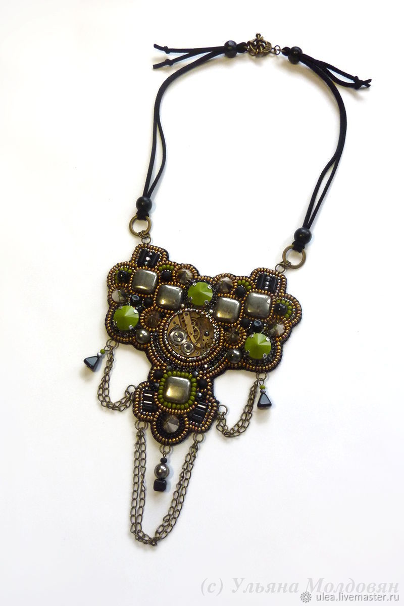 Necklace steampunk military khaki, Necklace, St. Petersburg,  Фото №1