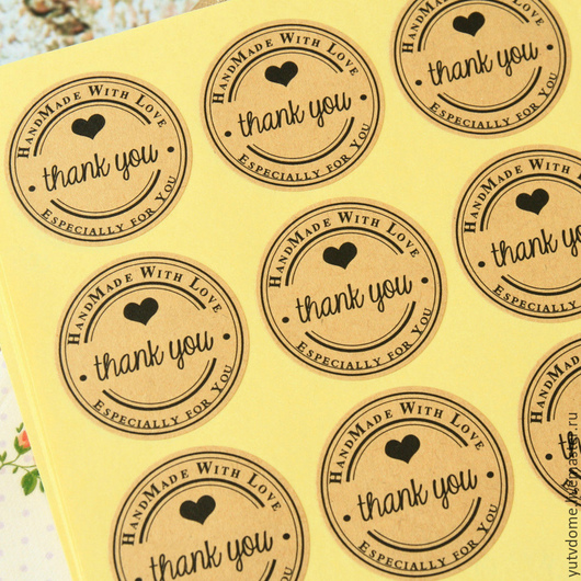 """Упаковка ручной работы. Ярмарка Мастеров - ручная работа. Купить 0716 Крафт наклейки """"Thank you"""" для упаковки круг 3 см 6 штук. Handmade."""