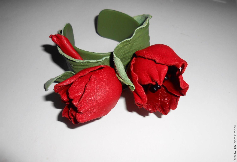 браслет из кожи тюльпаны,красные тюльпаны из кожи,браслет с цветами из кожи,красные тюльпаны заколка,аксессуары для волос с цветами,украшение из кожи тюльпан,женский браслет из кожи,красный браслет