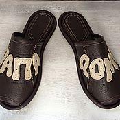 """Обувь ручной работы. Ярмарка Мастеров - ручная работа Кожаные тапочки """" ПАПА ДОМА""""- открытые. Handmade."""