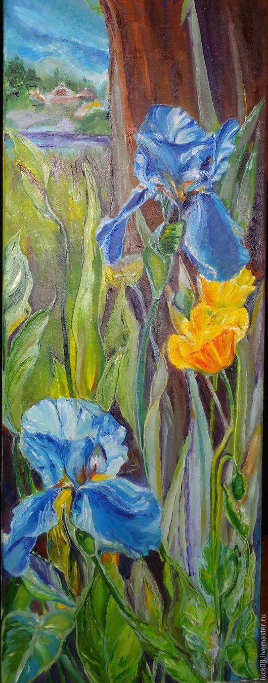 """Картины цветов ручной работы. Ярмарка Мастеров - ручная работа. Купить """"Ирисы"""". Handmade. Синий, настроение, подарок девушке"""