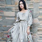 """Dresses handmade. Livemaster - original item Эксклюзивное льняное платье с вышивкой и росписью """"Дымчатая роза-2"""". Handmade."""