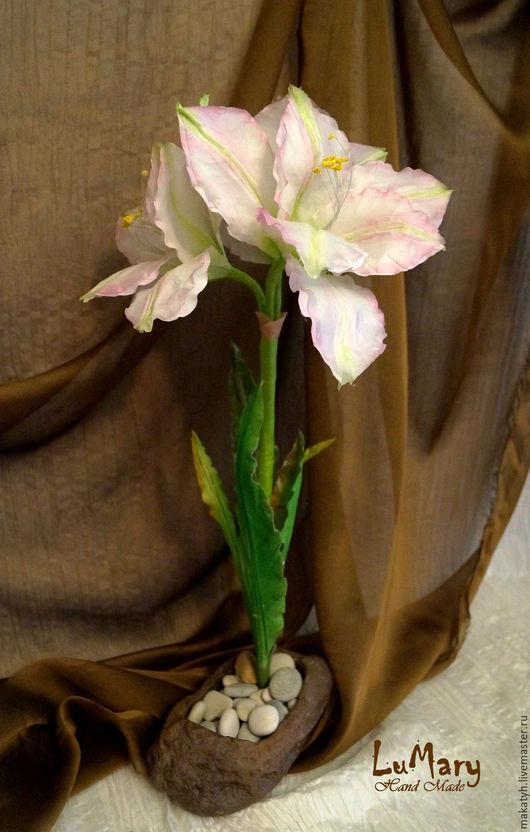 Цветы ручной работы. Ярмарка Мастеров - ручная работа. Купить Амарилис из шелка. Handmade. Бледно-розовый, амариллис, хлопок 100%
