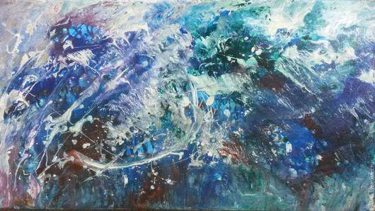 Абстракция ручной работы. Ярмарка Мастеров - ручная работа. Купить Картина холст акрил 50х90 Океан abstraction. Handmade.