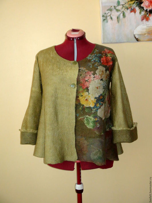 """Пиджаки, жакеты ручной работы. Ярмарка Мастеров - ручная работа. Купить Валяный пиджак """" Букет -3"""" оливковый зелёный кардиган. Handmade."""
