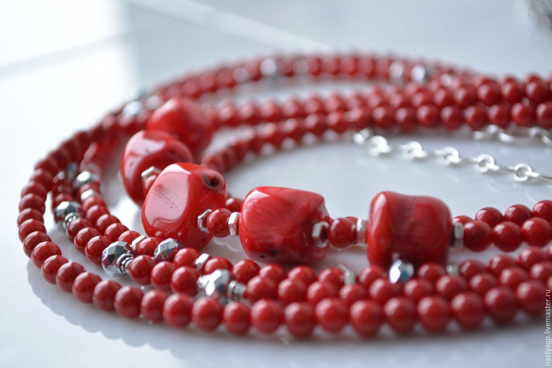 украшения из камней, украшения бусы, красные бусы, коралловые бусы, красный коралл, украшение в подарок, красивые бусы, купить бусы, колье многорядное, колье