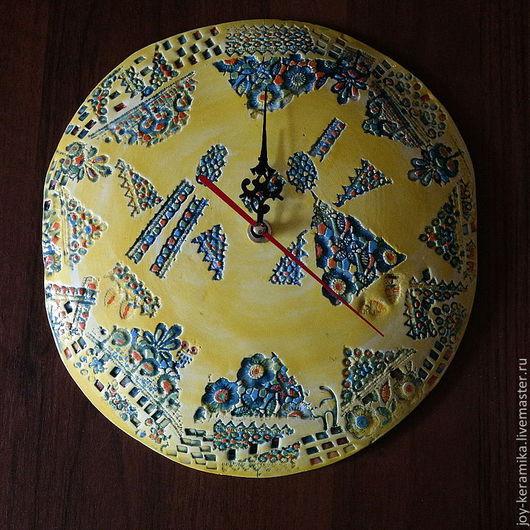 """Часы для дома ручной работы. Ярмарка Мастеров - ручная работа. Купить Часы """"Солнечный круг"""". Handmade. Желтый, для дачи"""