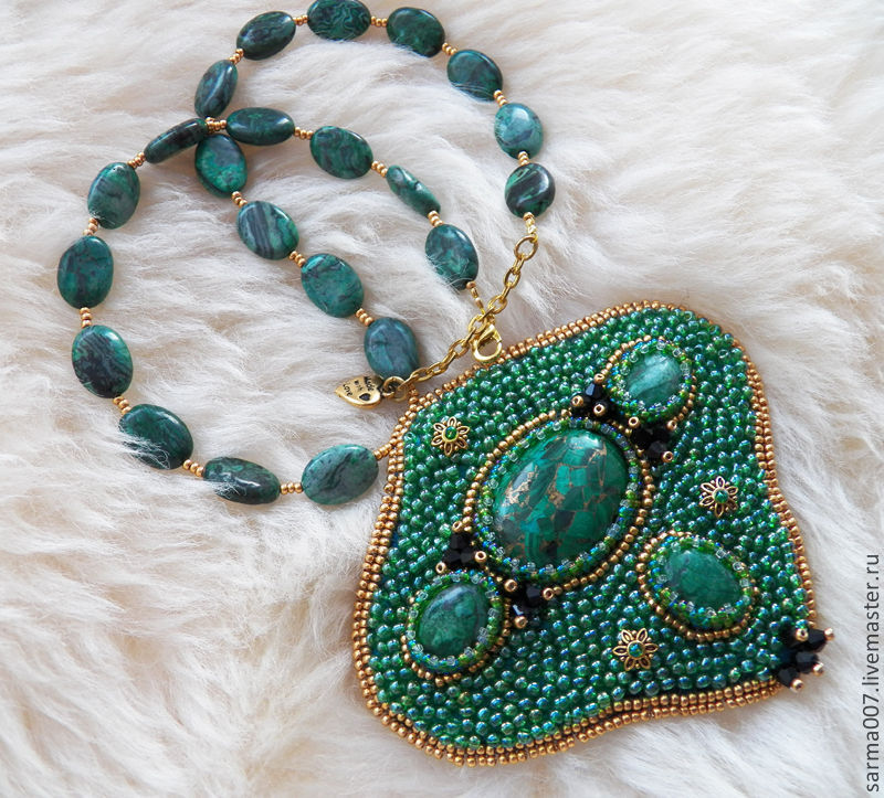 Necklace 'Forest lake' glass beads, malachite, Jasper, Necklace, Voronezh,  Фото №1