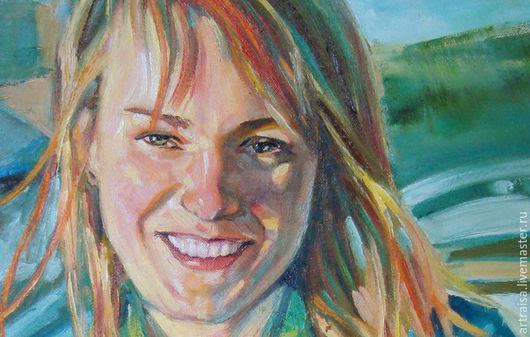 Люди, ручной работы. Ярмарка Мастеров - ручная работа. Купить женский портрет. Handmade. Разноцветный, портрет девушки, картина на холсте