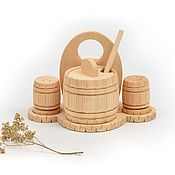 Посуда handmade. Livemaster - original item Sugar bowl wooden cedar. Set for sugar, salt, pepper. Handmade.