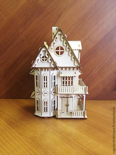 Кукольный домик (продается в разобранном виде в палетках) Размер: 45х30х17 см Высота 1 и 2 этажа - 12 см Материал: фанера 3 мм К заготовке прилагается схема сборки.