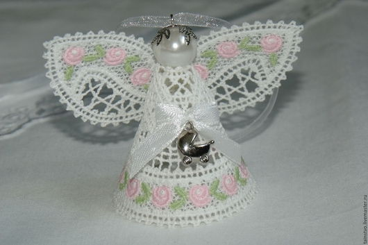 Подарки для новорожденных, ручной работы. Ярмарка Мастеров - ручная работа. Купить Ангелочек подвеска на рождение малыша 1. Handmade. Розовый