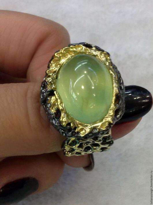 Кольца ручной работы. Ярмарка Мастеров - ручная работа. Купить Кольцо с пренитом серебро 925, размер 17,5.. Handmade.