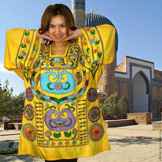"""Платья ручной работы. Ярмарка Мастеров - ручная работа. Купить Кафтан """"Солнечный Самарканд"""". Handmade. Лимонный, платье, платье на заказ"""