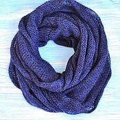 Аксессуары handmade. Livemaster - original item Snood knitted kidpoker and Merino, a blue Snood in 2 turns. Handmade.