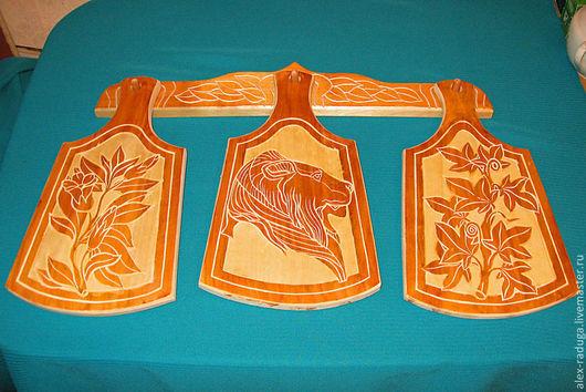 """Набор разделочных досок """"Лев"""" с контурным орнаментом. Доски с резьбой по дереву с русским народным рисунком - лучший подарок девочке, девушке, женщине на день рождения, на 8 марта, на Новый"""