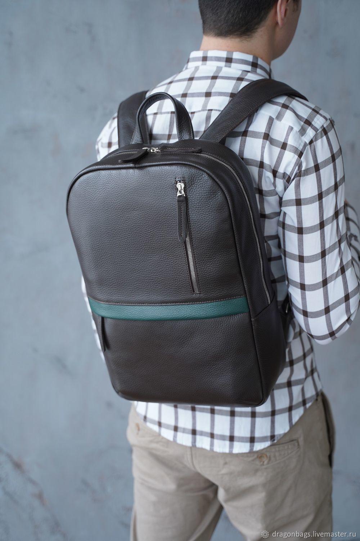 Backpack leather men 'Tayler' (Brown), Men\\\'s backpack, Yaroslavl,  Фото №1